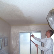 Ceiling moistened for dust free removal